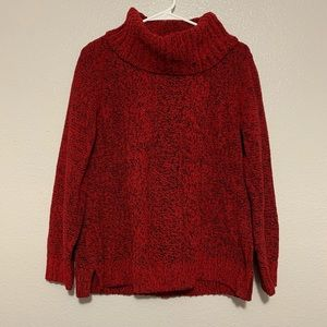 CJ Banks Red Black Long Sleeve Cable Knit Sweater